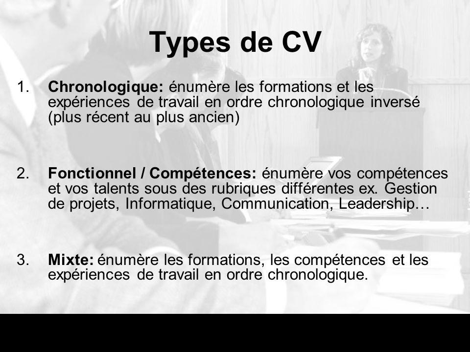 types de formations cv