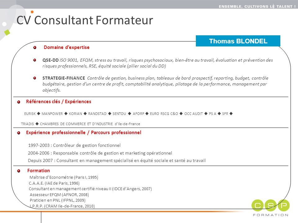 cv evaluation de risques professionnels