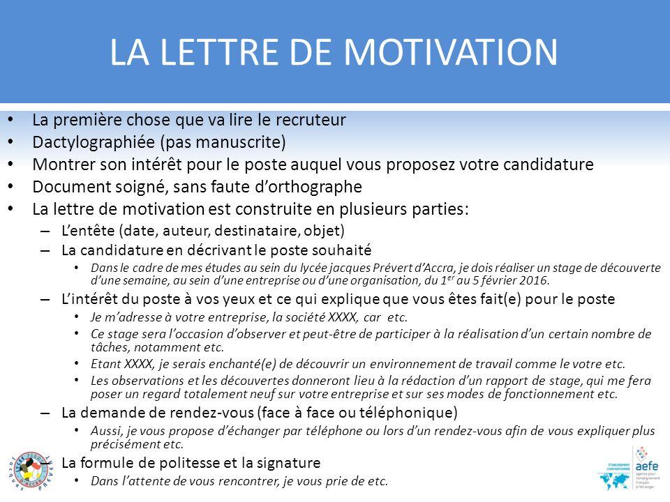 lettre de motivation et cv pour un stage