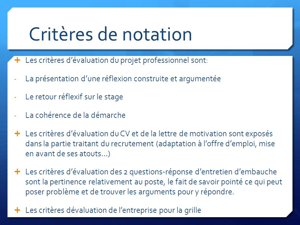 criteres evaluation cv en anglais