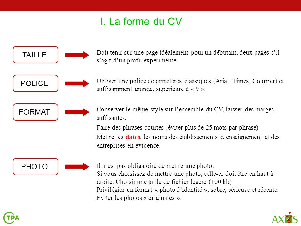 taille photo format cv
