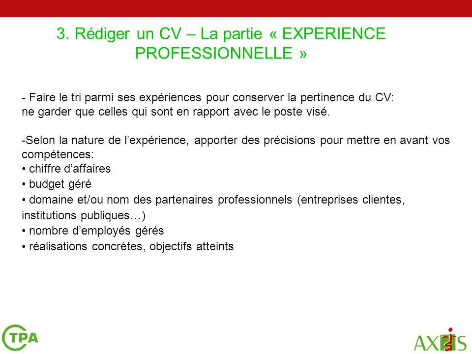 cv experience professionnelle actuelle