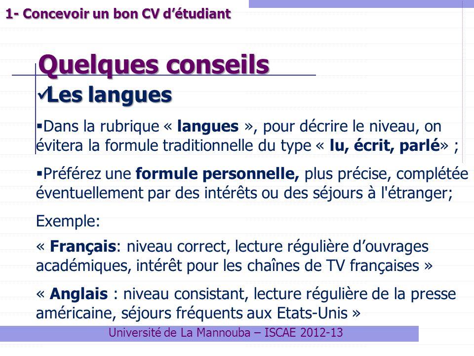 decrire langues cv