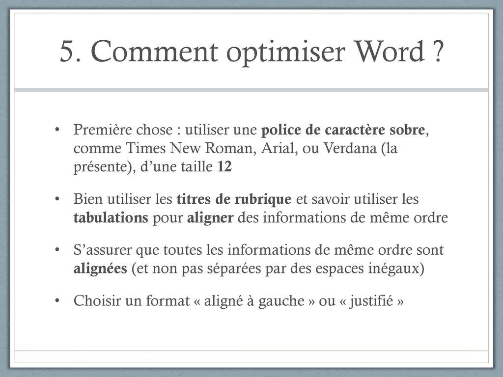 aligne texte word cv
