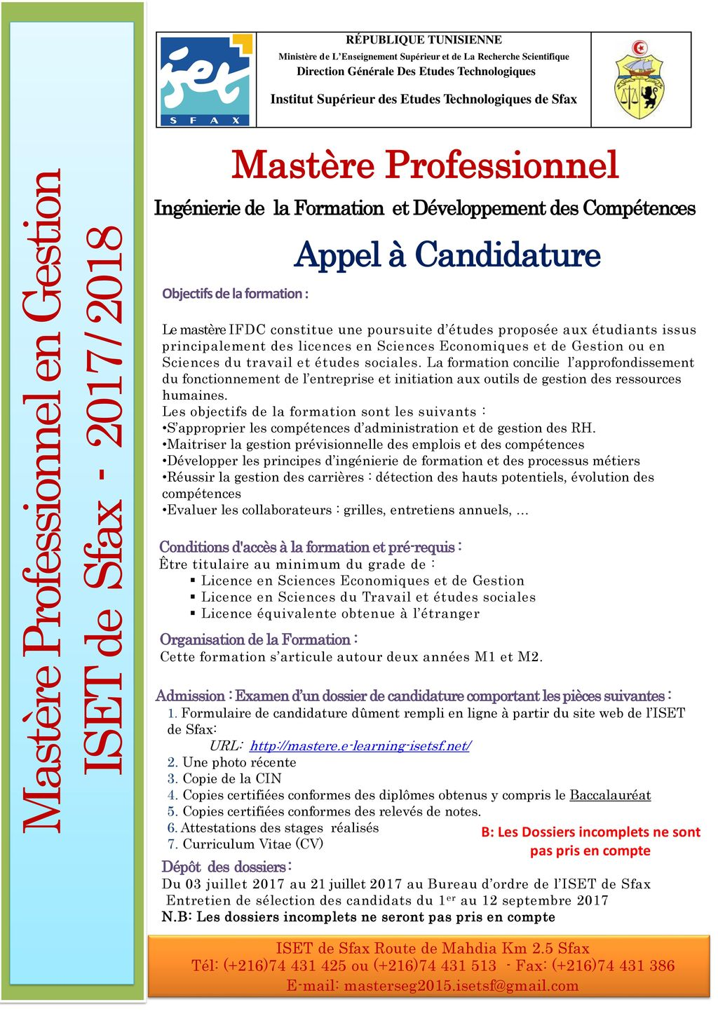 cv formation institut superieur informatique