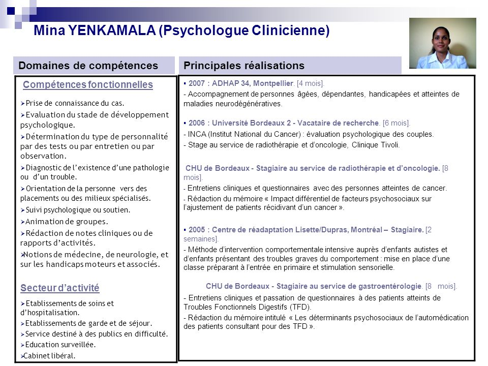 exemple cv psychologue stagiaire