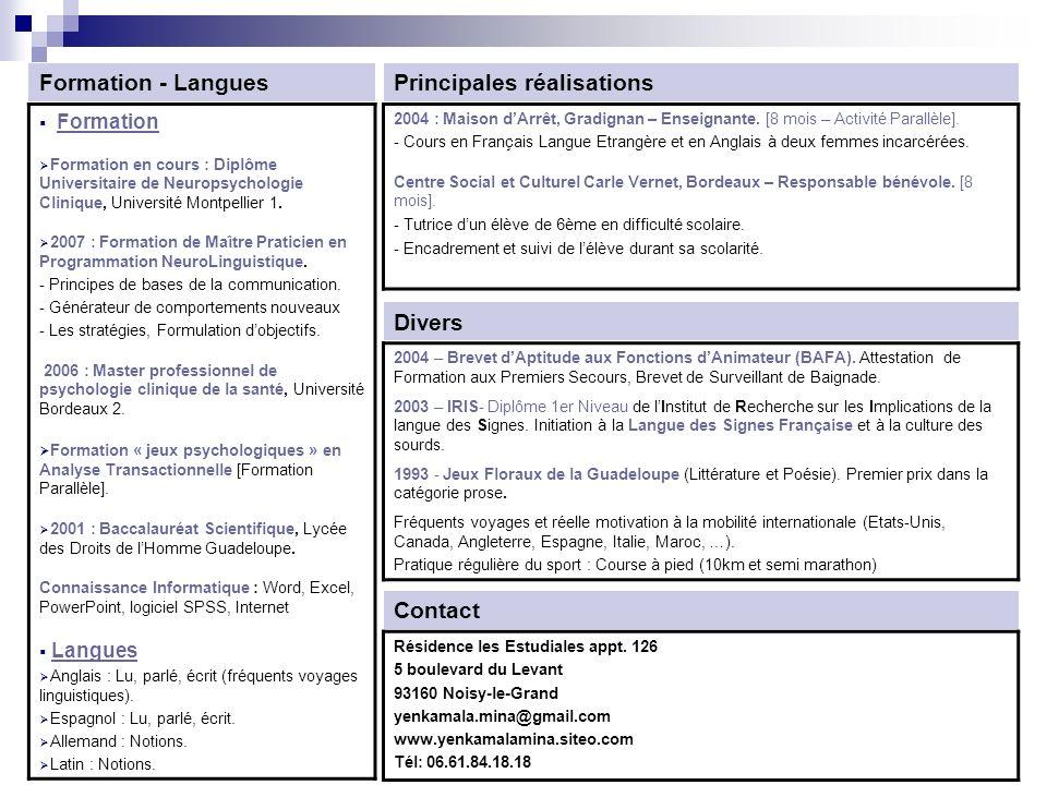 cv langue formulation