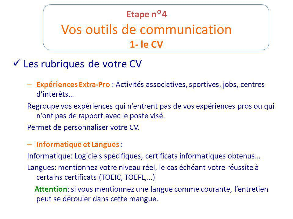 cv competence verbe