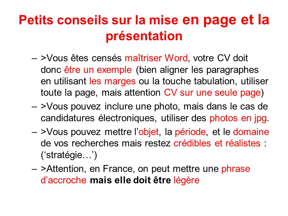 comment aligner une photo sur un cv