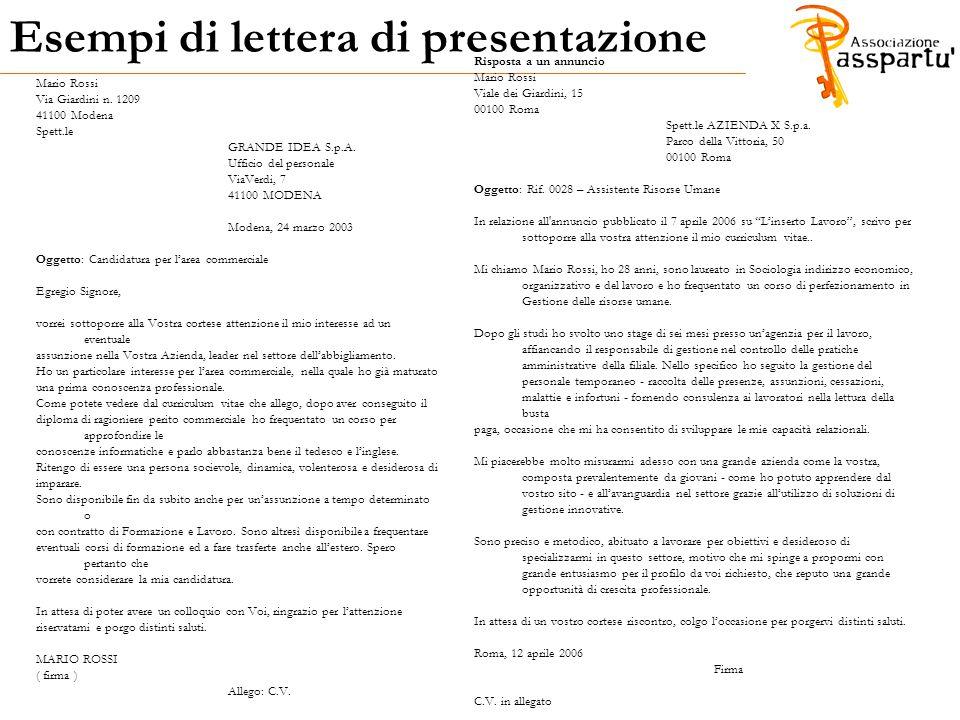 Lettera di presentazione allegato al curriculum vitae / wefactally