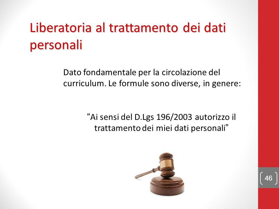 autorizzo al trattamento dei dati personali cv