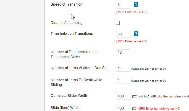 More Settings Option to Testimonial Slider