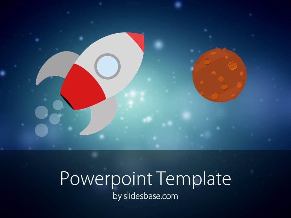 Cartoon Rocket PowerPoint Template Slidesbase