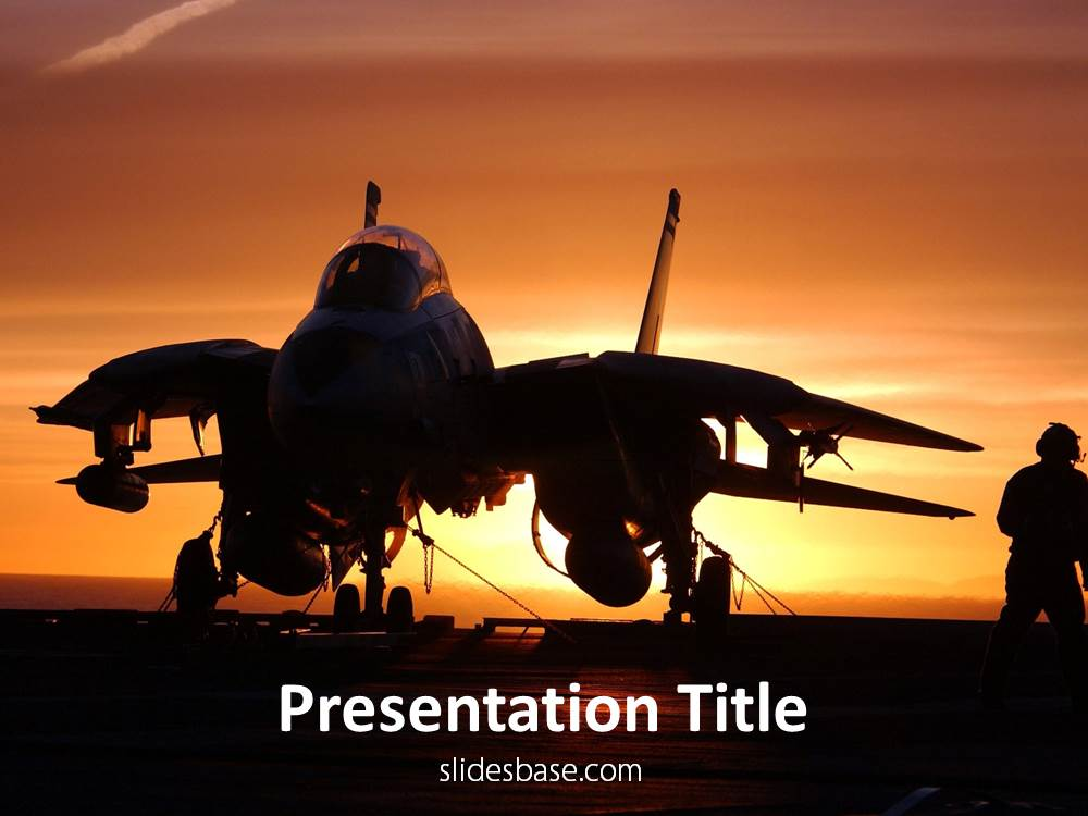 Jet Fighter PowerPoint Template Slidesbase - navy powerpoint templates