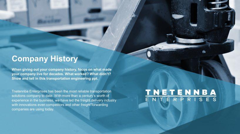 Company History Transportation Engineering PowerPoint Template - history powerpoint template