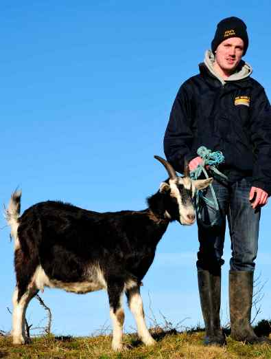 Nelly, Imbolc Festival goat for 2015 and Ronan Farrell from Pilko's Pet Farm