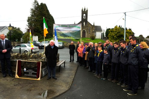 The Scouts among the crowd listening to Paddy Heany's tribute to Paddy Lowry