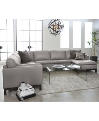 Furniture Closeout Ventroso 4 Pc Leather Chaise