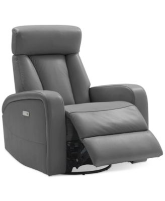 Electric Recliner Leather Chairs Furniture Dasia Leather Swivel Rocker Power Recliner With