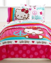 Hello Kitty Bedding, Peace Kitty Reversible Mini Comforter ...