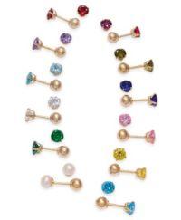 Children's Birthstone Reversible Stud Earrings in 14k Gold ...