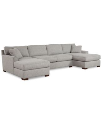 Promo Chaise Furniture Carena 3 Pc Fabric Sectional Sofa With Double Chaise