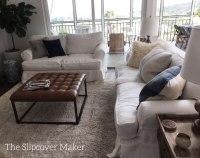 White Linen Slipcover Sofa
