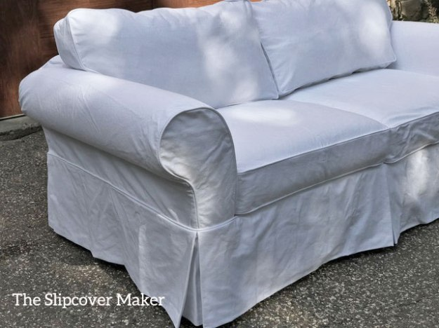 Denim T Cushion Sofa Slipcover White Slipcovers | The Slipcover Maker