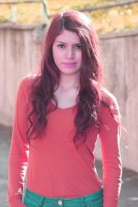 Girl with long wavy hair.