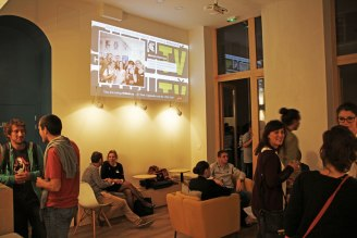 Videoscreen for a party in the hostel