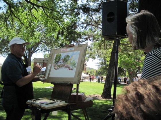 "Watercolorist John Partridge gives a demonstration on ""Painting Landmarks"""