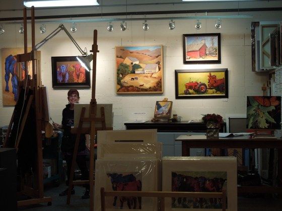 Anne Laddon at Work in her Studio at Studios on the Park