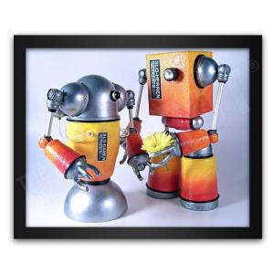 Mike Slobot Robot Love Art with a Flower framed