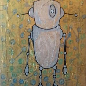 Robot Art painting with gold and glow in the dark