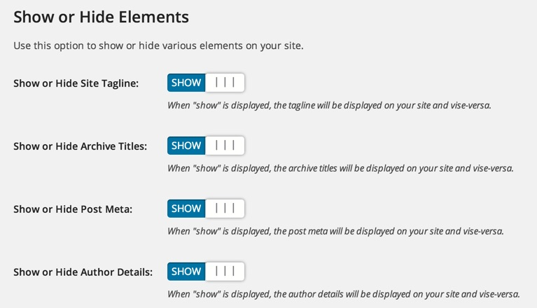 Show or Hide content in Epic WordPress theme