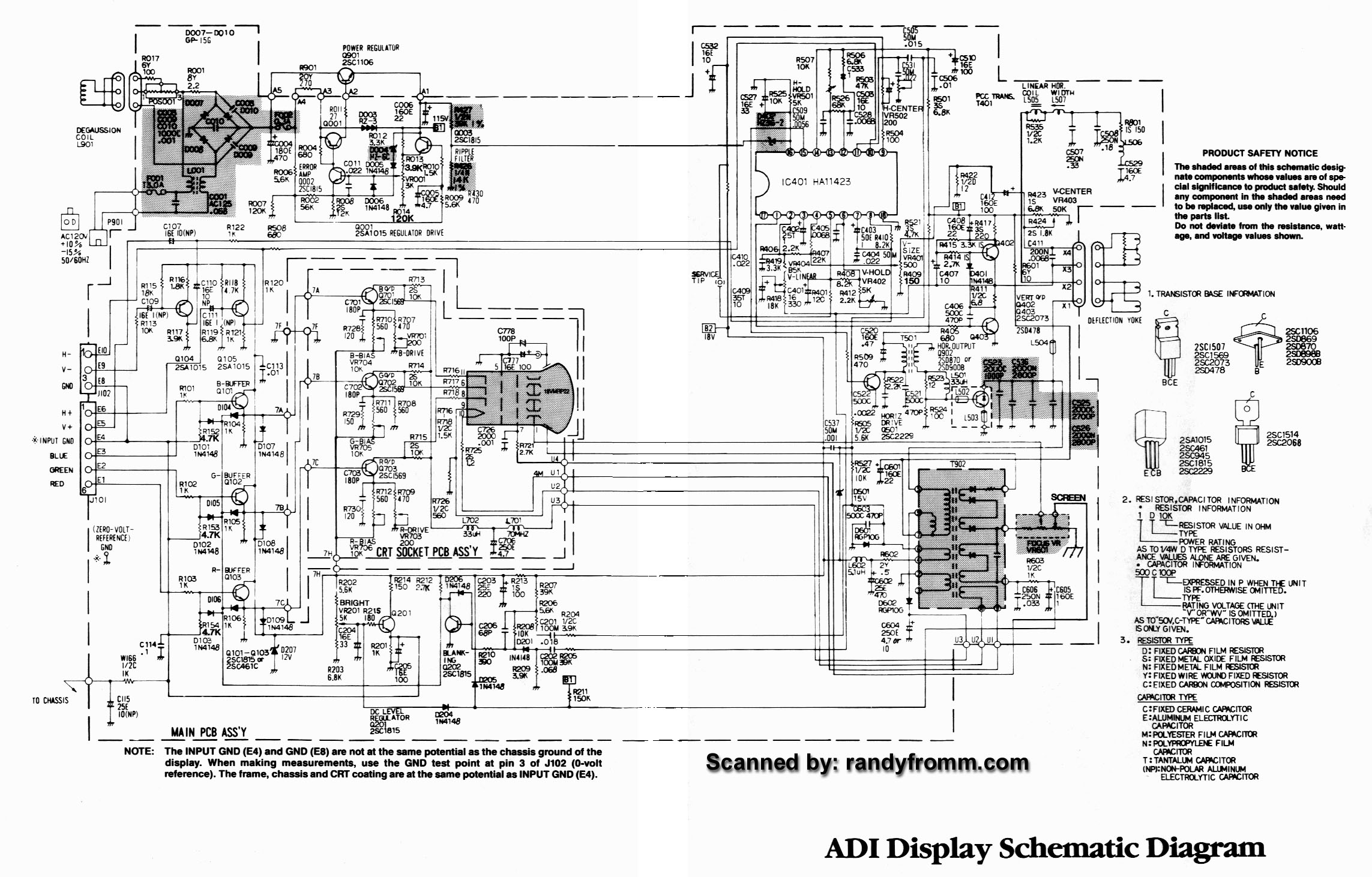 schematic diagram manual hantarex f1428se monitor