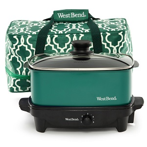 West Bend 5-Quart Versatility Slow Cooker with Insulated Tote and Transport Lid, Green