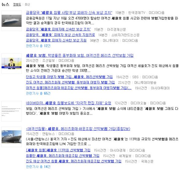 """미디어다음, """"세월호 보험"""" 검색결과. 2014년 4월 17일 오전 10시"""