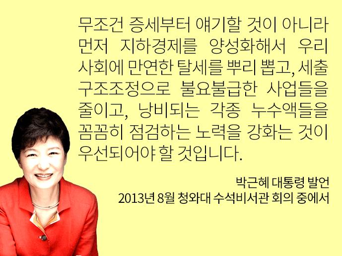 박근혜 대통령 2013년 8월 증세 관련 발언