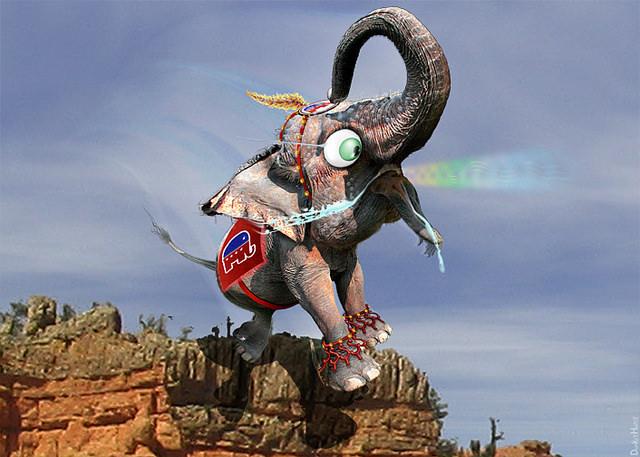 DonkeyHotey, Elephant in Treacherous Territory, CC BY https://flic.kr/p/qFbUNn
