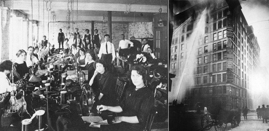 뉴욕 트라이앵글 의류공장의 직원들, 그리고 비극적인 화재 사건(1911)
