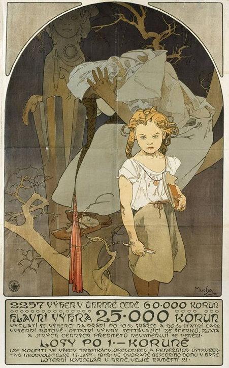 조국 체코의 복지를 위해 디자인한 무하의 복권 포스터. 현대의 애니메이션 장면과 흡사한 느낌을 준다.