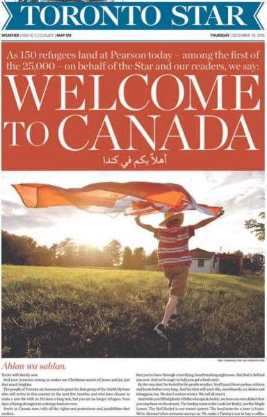 적극적인 난민 포용 정책을 펴는 캐나다. 캐나다의 언론사 토론토스타는 '시리아 난민'을 환영한다는 특별 사설까지 쓰며 이들을 환영했다.