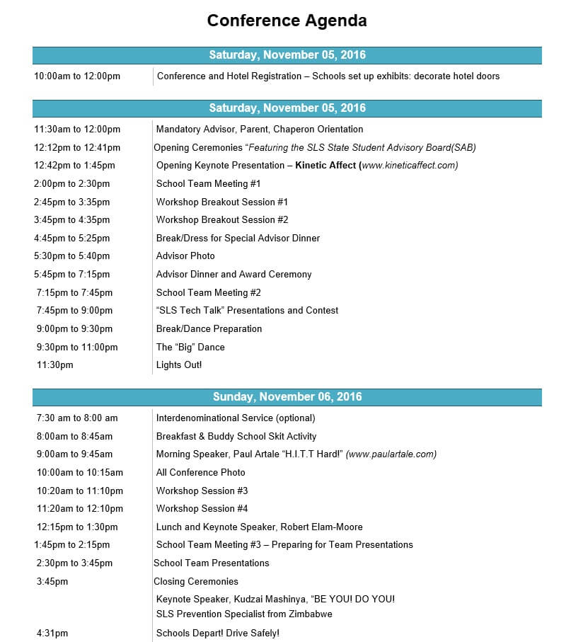 Agenda - Student Leadership Services - school agenda