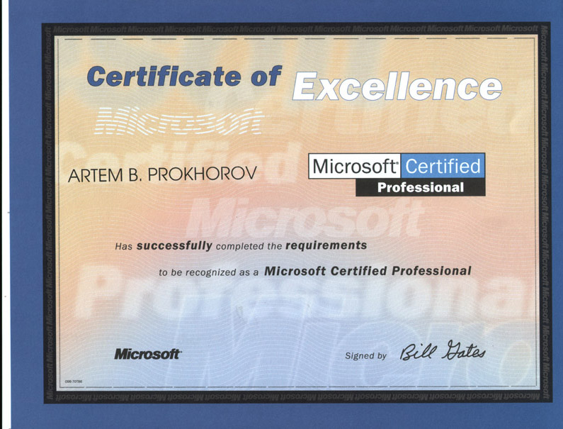 Artem Prokhorov\u0027s certification - microsoft certificate of excellence