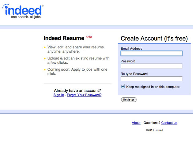 upload an existing resume indeed resume