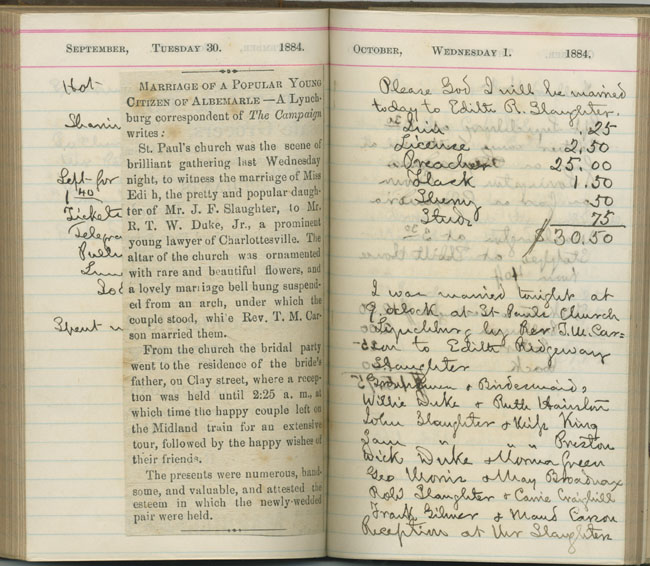 Diaries Albert and Shirley Small Special Collections Library