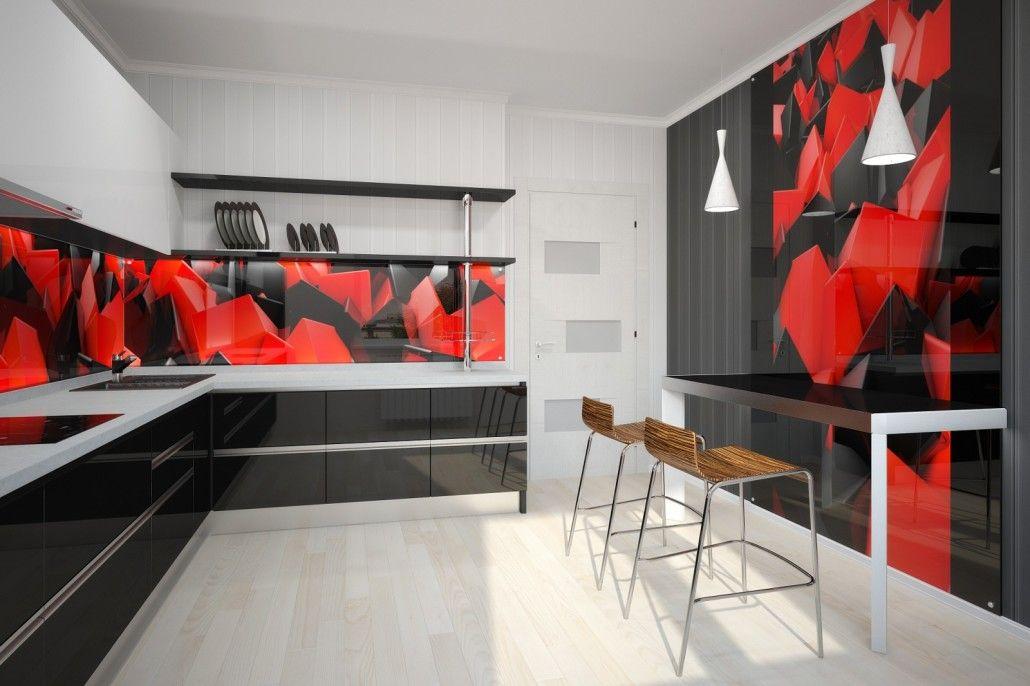red black theme modern kitchens design glass backsplash backsplash ideas small kitchens kitchen backsplash ideas