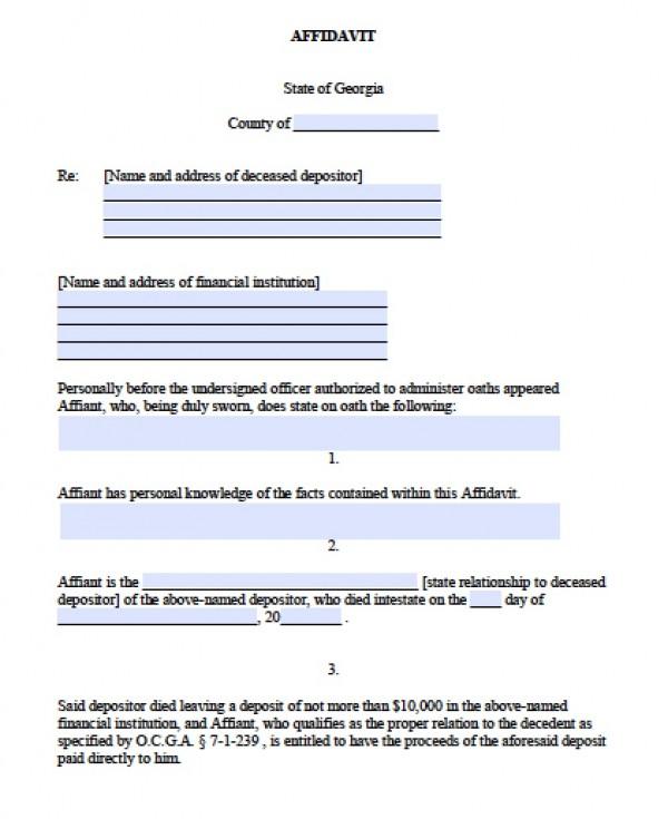 Free Georgia Small Estate Affidavit Form - Small Estate Affidavit Form