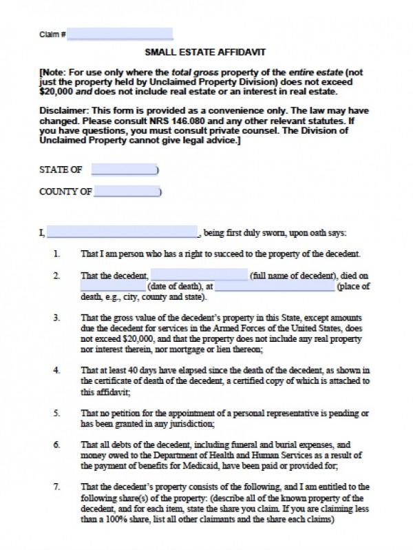 Free Nevada Small Estate Affidavit Form - Small Estate Affidavit Form - Affidavit Forms Free